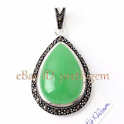 14X20MM DROP SHAPE GREEN JADE CZ CRYSTAL TIBETAN SILVER RETRO STYLE PENDANT 1 PC