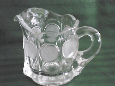 Fostoria Crystal Clear with Frosted Coin Ware Glass Open Creamer No Lid