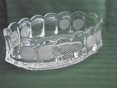Fostoria Crystal Clear with Frosted Coin Ware Oval Bowl Dish No Lid