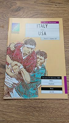 Italy v USA 1991 RWC Rugby Programme