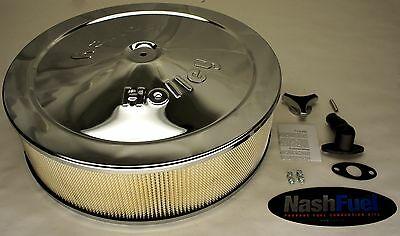 """Holley 14 Inch Air Filter Cleaner For Impco Ct425 425 14"""" Chrome 5-1/8 Cfm Hp"""