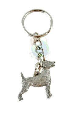 Jack Russell Terrier Keychain Fine Pewter Silver Key Chain Ring