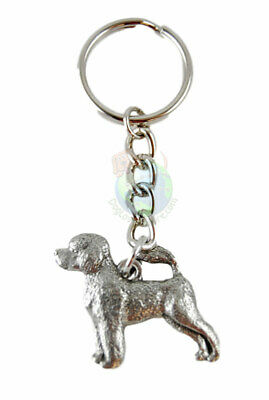 Portuguese Water Dog Dog Fine Pewter Silver Keychain Key Chain Ring