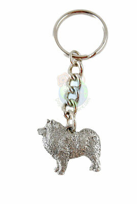 Samoyed Keychain Silver Pewter Key Chain Ring