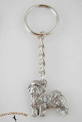 Shih Tzu Dog Fine Pewter Silver Keychain Key Chain Ring Puppy Cut