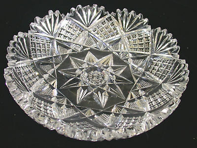 Cut Glass Candy Dish 6 1/4 Inches Wide Sparkles Bright