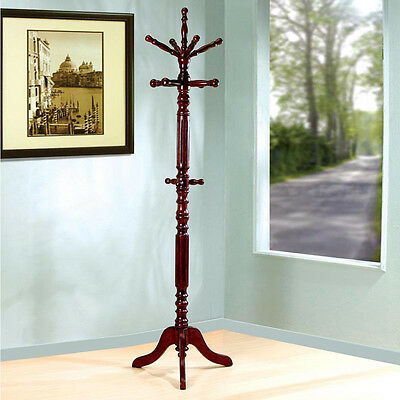 Sturdy Solid Wood Hooks Tobacco Walnut Heavy Duty Coat Hat Rack Hanger Hall Tree