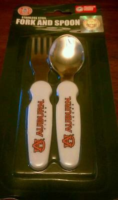Stainless Steel Auburn Tigers Fork and Spoon Set for Baby or Toddler
