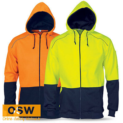 Hi Vis Yellow/orange Polyester Outer Hoodie Full Zip Wind Block Safety Jacket