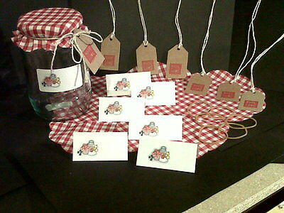Jam Jar Covers with Matching Labels and Gift Tags