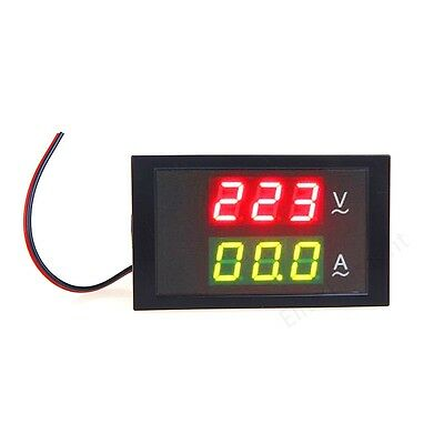 AC Dual Display 299V 50A Amp Volt LED Panel Combo Meter With Current Transformer