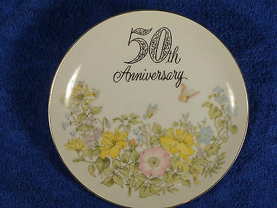 50TH ANNIVERSARY CHINA, HAND PAINTED, JAPAN-7.5IN-GOLD RIM AND PAINTED FLOWERS
