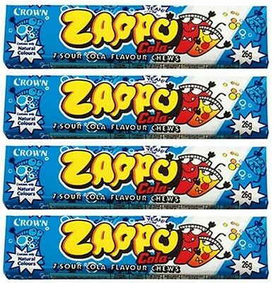 Bulk Lot 20 x Zappo Chews Cola 26g Crown Sour Candy Buffet Lollies Sweets Favors
