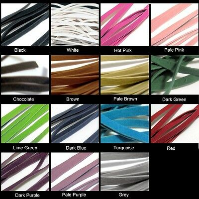 10 Mtrs 3mm Thin Type Faux Suede Flat Cords - Various Colour