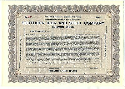 Southern Iron & Steel Company 2 Color Stock Certificate Set New Jersey