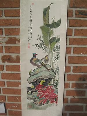 Chinese hanging scroll painting: water color on paper: Birds on Rockery