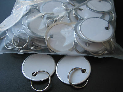 "Lot 50 Metal Edged 1 1/4"" White Paper Tags with Ring / Key ID Labels Tags"