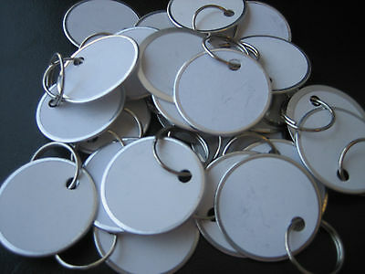 """Lot 25 Metal Edged 1 1/4"""" White Paper Tags with Ring / Key ID Labels Tags"""