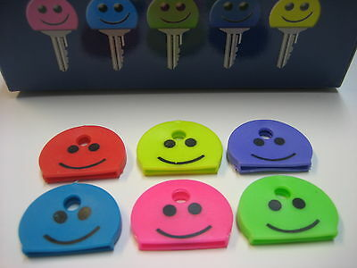 Lof of 6 pc Identification Key-Caps / Smile Face Happy Face Key ID Caps Covers
