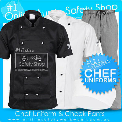 Unisex Full Chef Jacket & Pants & Hat Combo Uniform - Hospitality Restaurant