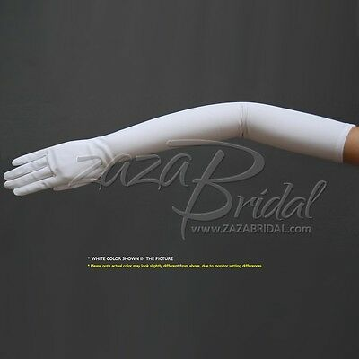 "23.5"" Long Stretch Dull Matte Satin Gloves Opera Length / No Shine, Elegant Look"