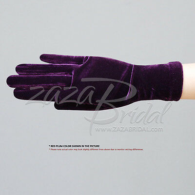 Stretch Velvet Gloves Slip-On Wrist Length / Various Colors