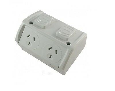 Double Power Point 10 Amp Waterproof Weatherproof Twin Socket Outlet With Switch