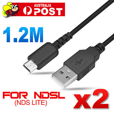 2x 1M USB Power Charging Charger Sync Data Cable Cord Nintendo DS NDS Lite NDSL