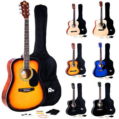 Rio Acoustic Guitar Pack Starter Package Outfit Full Size Beginner Adult Student