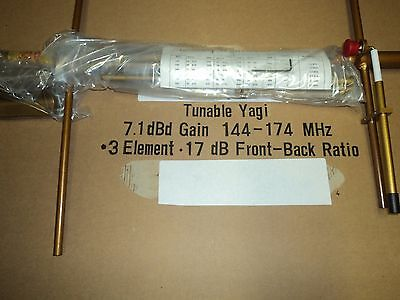 NEW Tunable Yagi Base Antenna VHF 144-174 MHz 3 Elements 7.1 dBd Gain Mount