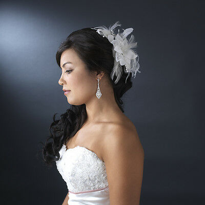 Elegant Bridal Feather Fascinator Comb with Sequins & Bugle Beads
