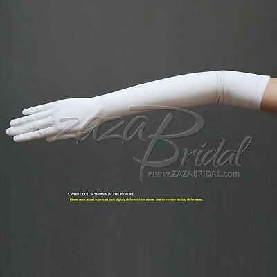 "19.5"" Long Stretch Dull Matte Satin Gloves / No Shine, Elegant Look"