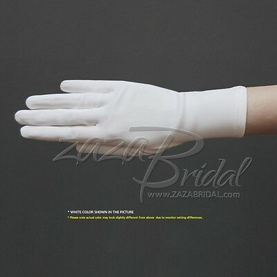 Two-Way Stretch Dull Matte Satin Dress Gloves Wrist Length/No Shine,Elegant Look