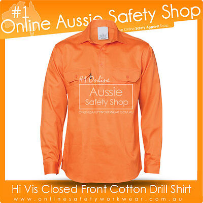 Hi Vis Close Front Orange Cotton Drill Long Sleeve Shirt - Gusset Sleeve S~5Xl