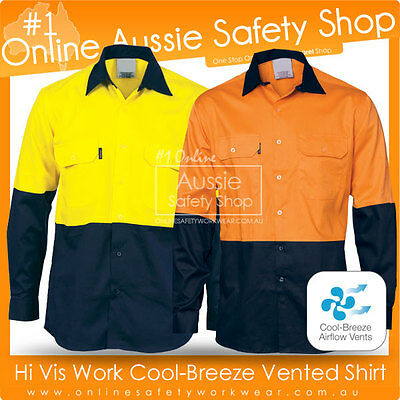 Hi Vis Light Weight Cotton Work Cool Breeze Breathable Vented Long Sleeve Shirt