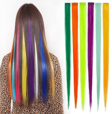 "4 Streaks 22"" Clip in Hair Extensions choose colors lot"