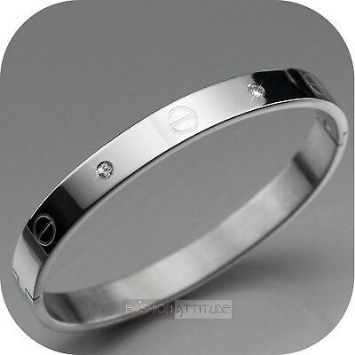 silver bracelet cz bangle stainless steel mens womens oval small to medium
