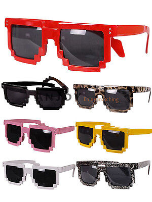 2012 Unisex Retro Trendy Pixel 8 Bit Glasses Pixelated Style Square Sunglasses