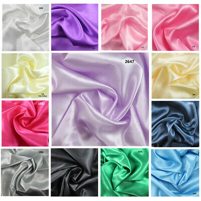 1 METRE SATIN MATERIAL FABRIC  *22 COLOURS* 1.5metres WIDE DRESSMAKING