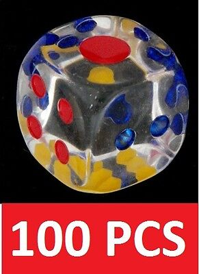 100 Clear 14 mm  Acrylic Transparent 6 Sided Casino Dice Rounded Round Corners