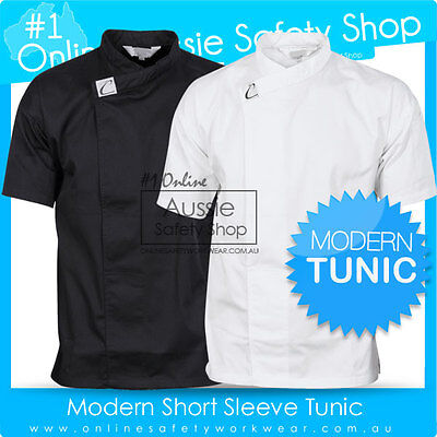 Unisex S/S Waiter Chef Cafe Restaurant Hospitality Black / White Tunic Shirt