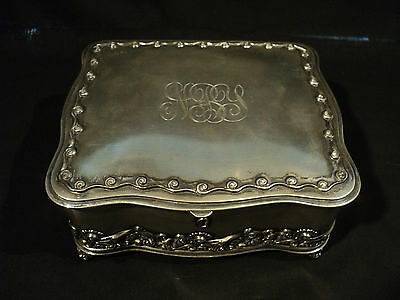 Large Victorian Period Middleton Silverplate Lidded Jewelry Casket / Box
