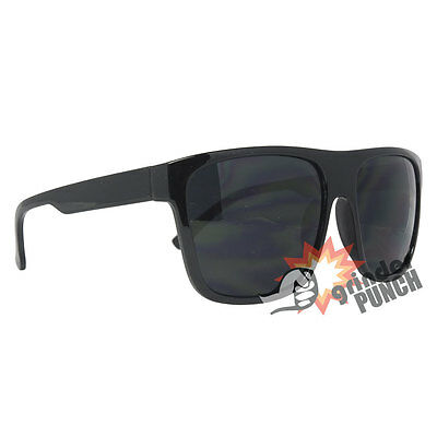 Men's Large Wayfarer Style Dark Flat Top Sunglasses Black Squared 80's Retro
