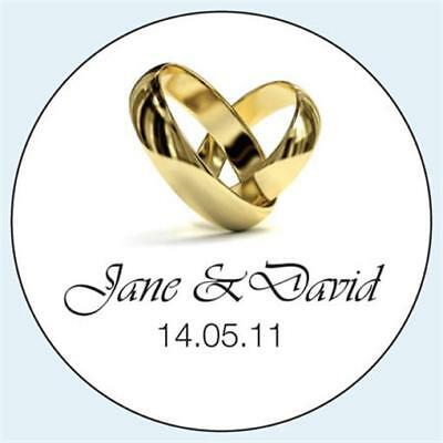 Personalised Wedding Stickers Labels. Any Colour. 5 sizes. Gold Rings Heart 015