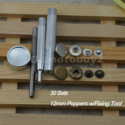 30 x12mm Poppers Snap Fastener Press Stud Repair Kit w/Tool Sewing Leather Craft