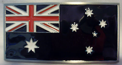 BELT BUCKLE - Australian Flag - Heavy Duty - Silver Border - Excellent Quality!