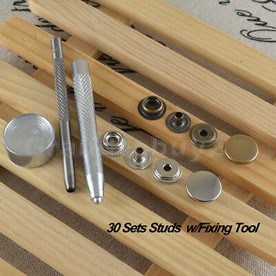 30 x15mm Snap Fastener Poppers Press Stud Kit w/Tool Sewing Leather Craft Jacket