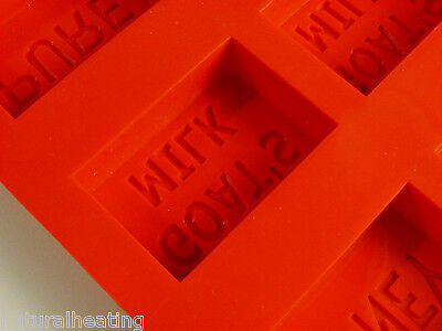 8 CELL TEXT MARKED Rectangular 100g Bath Bar Flexible Silicone Soap Mould Mold