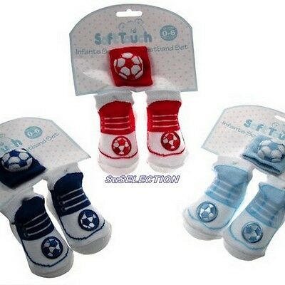 Soft Touch Baby Boy Football Shoe Socks & Wristband-One Size 0/6 Months-New