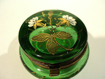 GREEN VICTORIAN ART GLASS PATCH  BOX w/ ENAMELED FLORAL TOP & GILT DECORATION